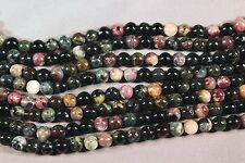 "GORGEOUS NATURAL MULTI-COLOR DARK TOURMALINE 8MM ROUND BEADS 15"" STRAND"