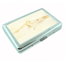 Metal Silver Cigarette Case Holder Box 2nd Pin Up Girl Design-008