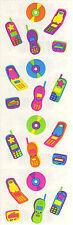 Mrs. Grossman's Stickers - Teen Tech - Neon Color Cell Phones, CDs - 4 Strips