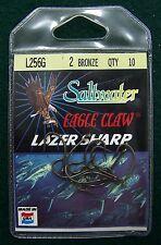EAGLE CLAW L256G (10pk) BRONZE LIVE BAIT HOOK SZ 2 NIP