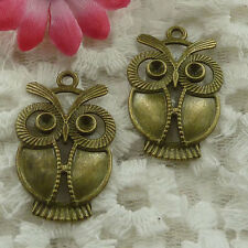 Free Ship 25 pieces bronze plated owl pendant 34x21mm #1318