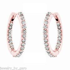 """14K ROSE GOLD INSIDE & OUTSIDE DIAMONDS HOOP EARRINGS 0.75"""" INCH  0.88 CARAT"""