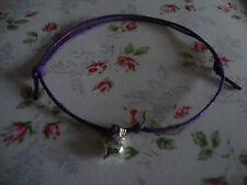 Purple & Silver Heart Friendship Bracelet, String Bracelet - Cute & Dainty Ps2