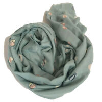 LC Lauren Conrad Scarf Novelty Print Hot Air Balloon Pastel Green Fringe Wrap OS