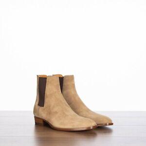 SAINT LAURENT PARIS 895$ Wyatt Chelsea Boots In Tobacco Suede 8.5
