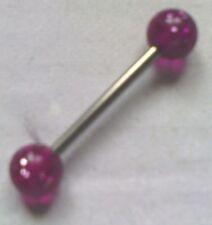 piercing en acier inoxydable boule rose vif pailleté