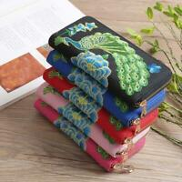 Floral Peacock Embroidered Clutch Change Coin Purse Phone Bag Wallet Purse 6L