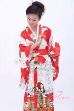 lake blue/ black red  Chinese Silk/satin Women's Kimono Robe Gown clubs with obi