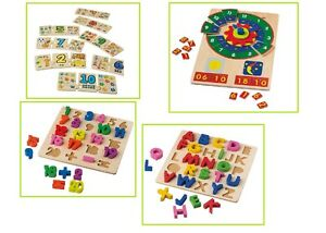 Toys Kids Wooden Games Learning Puzzle Number Telling The Time Alphabet Maths