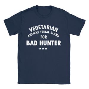 Vegetarian Bad Hunter Mens T-Shirt Funny Joke Gift Present
