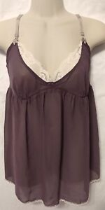 Victoria's Secret Purple Sheer White Lace Babydoll Nightie Gown Lingerie Large
