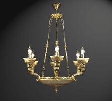 LAMPADARIO IN OTTONE E CERAMICA DECORATA A 6 LUCI COLL. BGA 1324 CLASSICO
