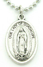 Our Lady Of Guadalupe Silver Plated Medal Pendant Necklace,No Tarnish Chain