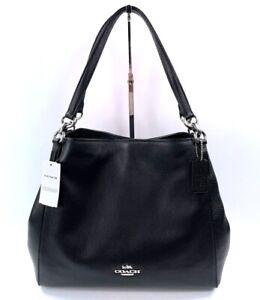 Coach Hallie Leather Shoulder Bag Black Silver Hardware NWT $398