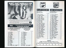 1992 Fosters Cup Hawthorn v Richmond Quarter Final Football Record Hawks won