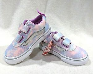 Vans Toddler Girl's Ward V Glitter Tie Dye Multicolor Skate Shoes-Asst Sizes NWB