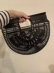 Wooden Black Bamboo Clutch Bag Handmade Cult Gaia Style 50s Look Handbag - Bali