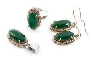 15.20Gm Green Emerald Ring,Earring,Pendant Set 925 Solid Sterling Silver M168