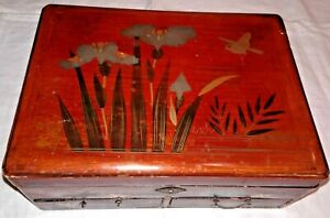 Vintage Japanese Multi-Compartment Red Lacquer Wood Jewelry Box