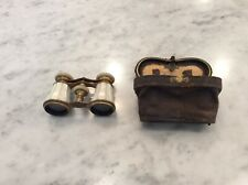 Antique Opera Binoculars with Leather Case - Mother of Pearl