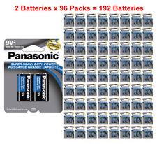 192x Panasonic Heavy Duty 9 Volt 9V Batteries Wholesale Lot Carbon Zinc 9V2 x 96