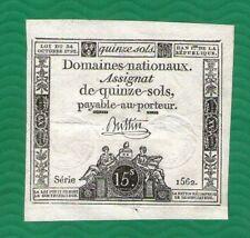 ASSIGNAT  FRENCH  REVOLUTION  15 sols  1792 .G. - (No 63 ) SUPER QUALITY   RARE