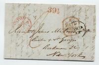1843 Boston transatlantic stampless from Greece 39 1/2 rate handstamp [45.270]