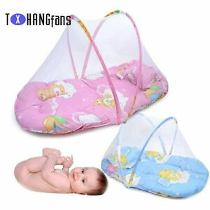 Summer Folding Crib Mosquito Net Baby Travel Bed With Cotton Cushion Pillow ATF