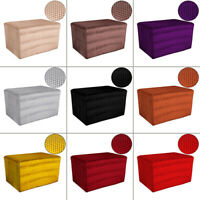 Velvet Fabric Square Ottoman Cover Sofa Footstool Protector Stretch Slipcover