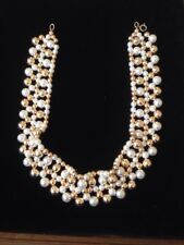 faux pearl and gold bead choker necklace collar