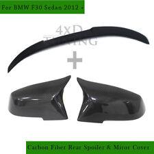 For BMW 3 Series F30 328i 320i 330i 335 Carbon Fiber Rear Spoiler & Mirror Cover
