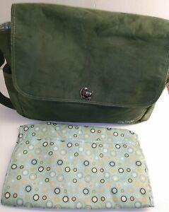 Carter's Diaper Bag Baby Tote Carryall Green Velour Changing pad wipe bag