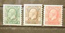 Canada  coil stamp set #s 205 - 207 mint OG hinged VF