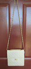 "Jay Hebert Quilted Beige Shoulder Bag Purse Adjust Goldtone Strap 7.5"" EUC"