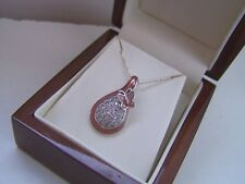 """SUPERB SOLID STERLING SILVER SIMULATED DIAMOND ENAMEL PENDANT 16"""" NECKLACE"""