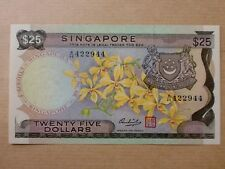 Singapore $25 1972 Orchid Brownish Paper (UNC) A/46 422944 Nice Number