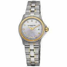 RAYMOND WEIL PARSIFAL DATE  MOP DIAL ST.STEEL WOMEN'S WATCH 9460-SG-97081 NEW