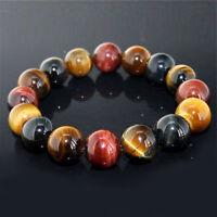 10MM Natural Tiger Eye Stone Colorful Gemstone Bead Men Fashion Jewelry Bracelet