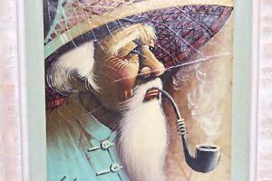 Vary Rare oil painting painted on tobacco leaf pipe smoker