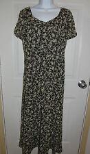 Dana Buckman Green Brown Colored Floral Long Dress Size 8