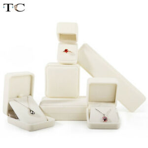 Beige Flannel Jewelry Box Jewelry Box Ring Necklace Earrings Pendant Storage Box