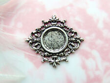 ANTIQUE SILVER Filigree Cabochon 12mm Round Setting Stamping ~ Finding (CB-3034)
