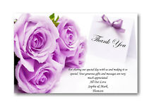 50 Personalised Wedding Day , Wedding Evening Thank You , Thankyou Cards Ref W5