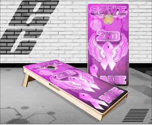 Pink Ribbon Save Second Base Cornhole Boards Bean Bag Toss Game