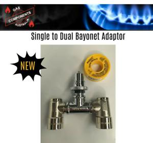 Caravan Single to Dual Bayonet Adaptor Kit BBQ's Fridges Heaters (Disassembled)
