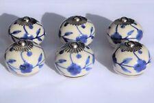 porcelaine céramique Bouton de porte blanc rond avec bleu MOYEU & FLEURS