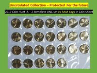 2019 Aussie coin hunt  A - Z unc coin set PROTECTED in coin sheet all ex RAM bag