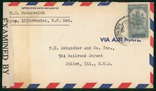 Mayfairstamps Mexico 1940s to Joliet Illinois Censored Cover wwp79529