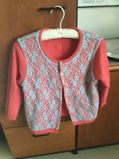 Free People reversible cardigan sweater melon orange blue angora lace size M