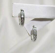 PROM PERFECT Pave' Set Clear Cz Small Oval Filigree Back White Gold Filled Hoops